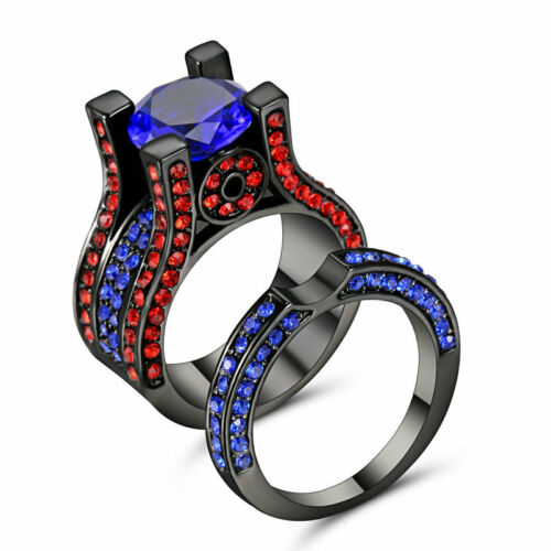 Size 7 Black Gold Plated sapphire Wedding Engagement Ring Band Set Anniversary