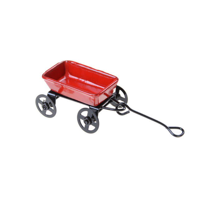 1:12 Dollhouse Miniature Garden Metal Cart Furniture Pretend Play Toys Decor JR