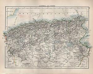 1904 ANTIQUE MAP ALGERIA TUNIS ORAN ALGER CONSTANTINE GABES eBay