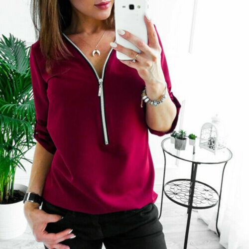 Womens Zipper 3//4 Sleeve Casual Plain Blouse Top Ladies T Shirts Tops Plus size