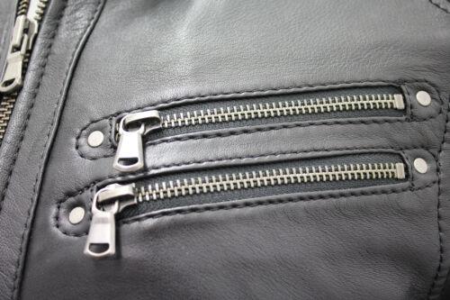 Men's Biker Leather Jacket Café Black Racer r67wnHqrYx