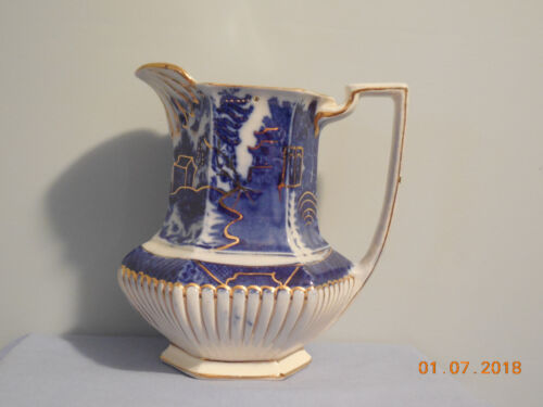 WILLOW FLOW BLUE PEWTER LIDDED PITCHER