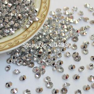 100pc-10-mm-Argent-Fete-De-Mariage-Scatter-Table-cristaux-de-diamant-acrylique-confettis