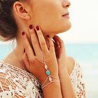 Elégant Multi-chaîne Bracelet cristal doré jusqu'au doigt bague De main femmes