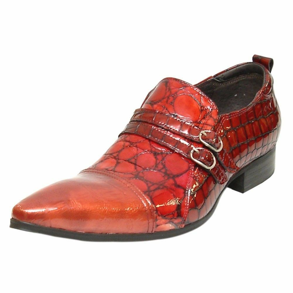 Fiesso Uomo Red Pelle Animal Print Slip Double Monkstraps Pointed Toe Slip Print On Shoe 02a5c7