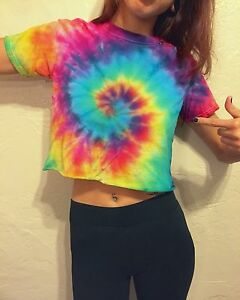 53d5fcdc2c745 Tie Dye Crop Top T-Shirt Vibrant Rainbow Spiral Top Tumblr Festival ...