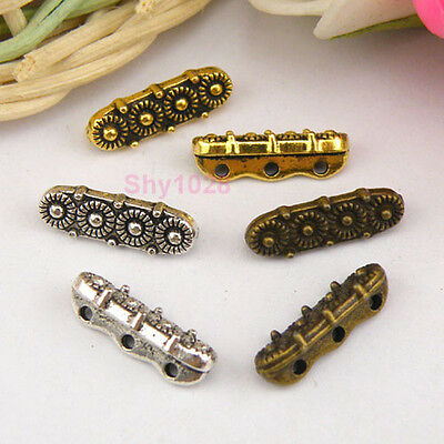 20Pcs Tibetan Silver,Gold,Bronze 3-Holes Flower Spacer Beads Connectors M1152