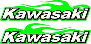 Image Is Loading Kawasaki Logo Motorcycle Flame 2 Sticker Decal Set