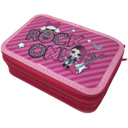 Rock On Pink 3 Tier Zipped 45pcs Pencil Case For School Girls L.O.L Surprise