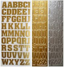 LARGE LETTERS Peel off Stickers 20mm Alphabet Card Making Gold or Silver