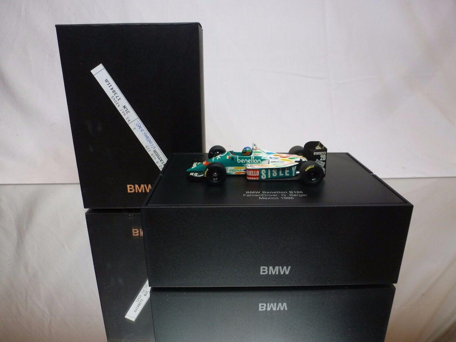 MINICHAMPS BMW BENETTON 186 - F1 SISLEY 1 43 - EXCELLENT IN DEALER BOX