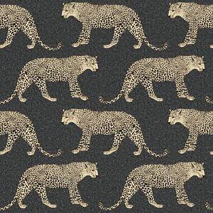 Portefeuille-Leopard-Papier-Peint-Noir-Dore-Rasch-215311