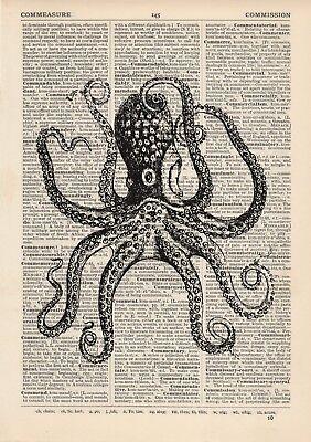 Antique Book page Art Print Vintage Purple Seahorses Dictionary Page Print