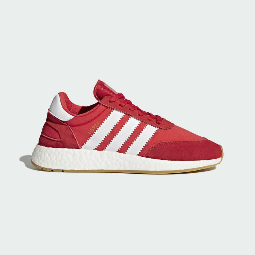 NEW MEN'S ADIDAS ORIGINALS I-5923 INIKI BOOST SHOES  [BY9728]  RED  WHITE-GUM