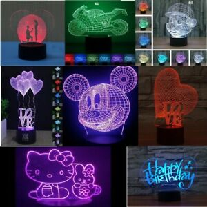 3D Night Light LED illusion USB Touch 7 Colors table Lamp Bedroom Kid w/gift Box