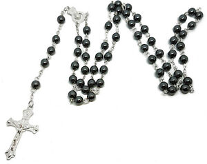 Black-Bead-Rosary-Long-Prayer-Holy-Beads-Hematite-Cross-Necklace