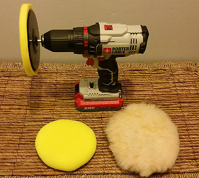 """6"""" Polishing Kit, 3 Buffing Pads + Drill Attachment"""