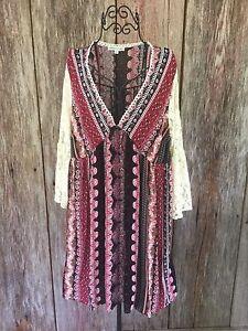 Details About Boho Festival Lace Batwing Flowy Patchwork Short Dress Prairie L Tassels N Lace