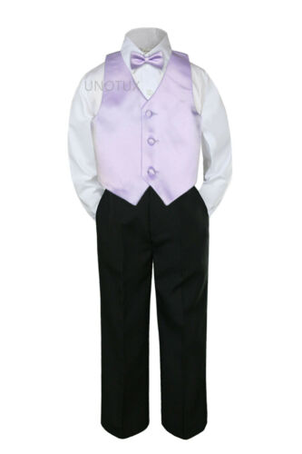 Hermosa Baby Toddler Boy 4pc Formal White Shirt Black Pants Vest Bow Tie Outfit
