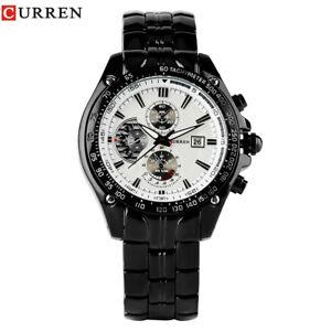 CURREN-Date-Round-Case-Stainless-Steel-Men-039-s-Sport-Army-Analog-Quartz-Watch