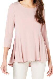 Alfani-Womens-Blouse-Clay-Pink-Size-Medium-M-Jersey-Peplum-Scoop-Neck-59-130