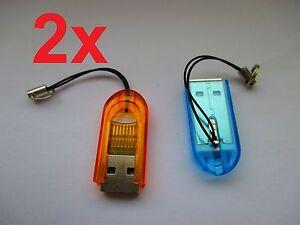 2x-Mini-Kartenleser-USB-Micro-SD-TF-T-Flash-Speicherkarten-lesegeraet-Adapter