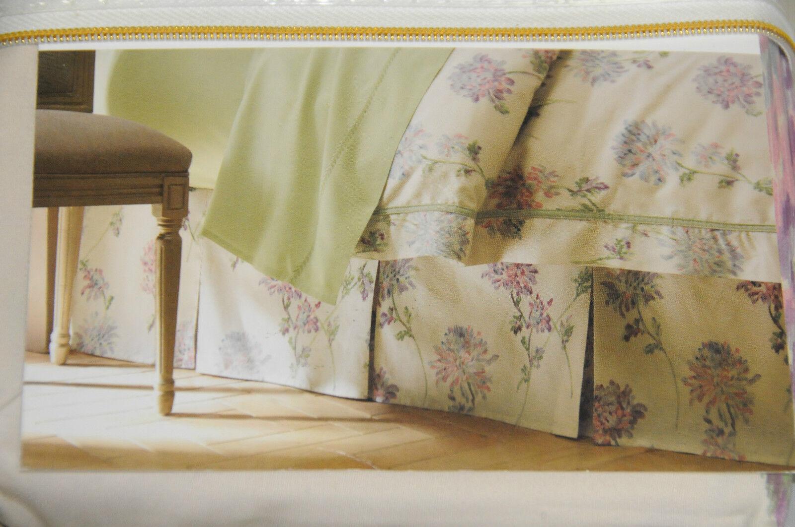 NEW Court of Versailles ONDINE King Queen Floral Sateen cotton PLEATS Bed Skirt