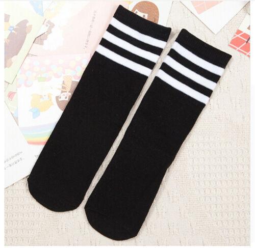 Boys Girls Toddler Kids Knee High Length Cotton Stripes School Sports Socks VQ