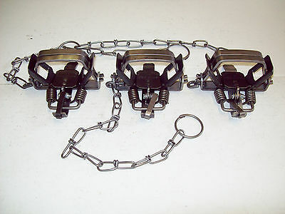 3- BRIDGER #1 COIL SPRING TRAPS NEW SALE trapping muskrat raccoon mink