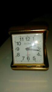 Working-Seth-Thomas-Travel-Alarm-Clock-Wind-Up-Brown-Folding-Case-WORKS