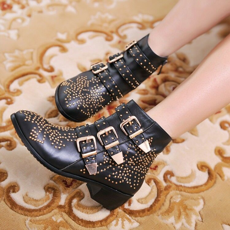 Womens Retro Studded Buckle Strap Pointed Toe Cowboy Western Ankle Boots Shoes
