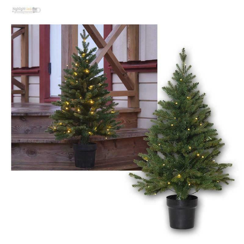 Künstlicher Weihnachtsbaum mit 40 LED warmweiß, Batteriebetrieb & Timer, Outdoor