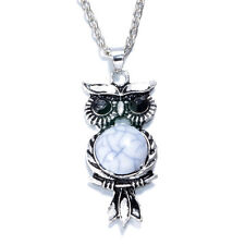 HOT Women Vintage Crystal Owl Pendant Necklace Long Chain Rhinestone Jewelry Q1