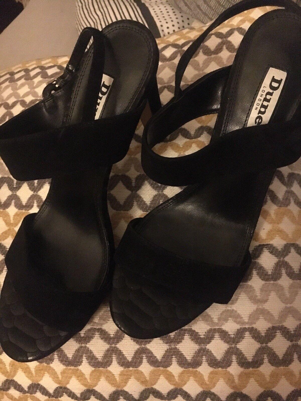 Dune, schwarz heeled double strap sandal 6