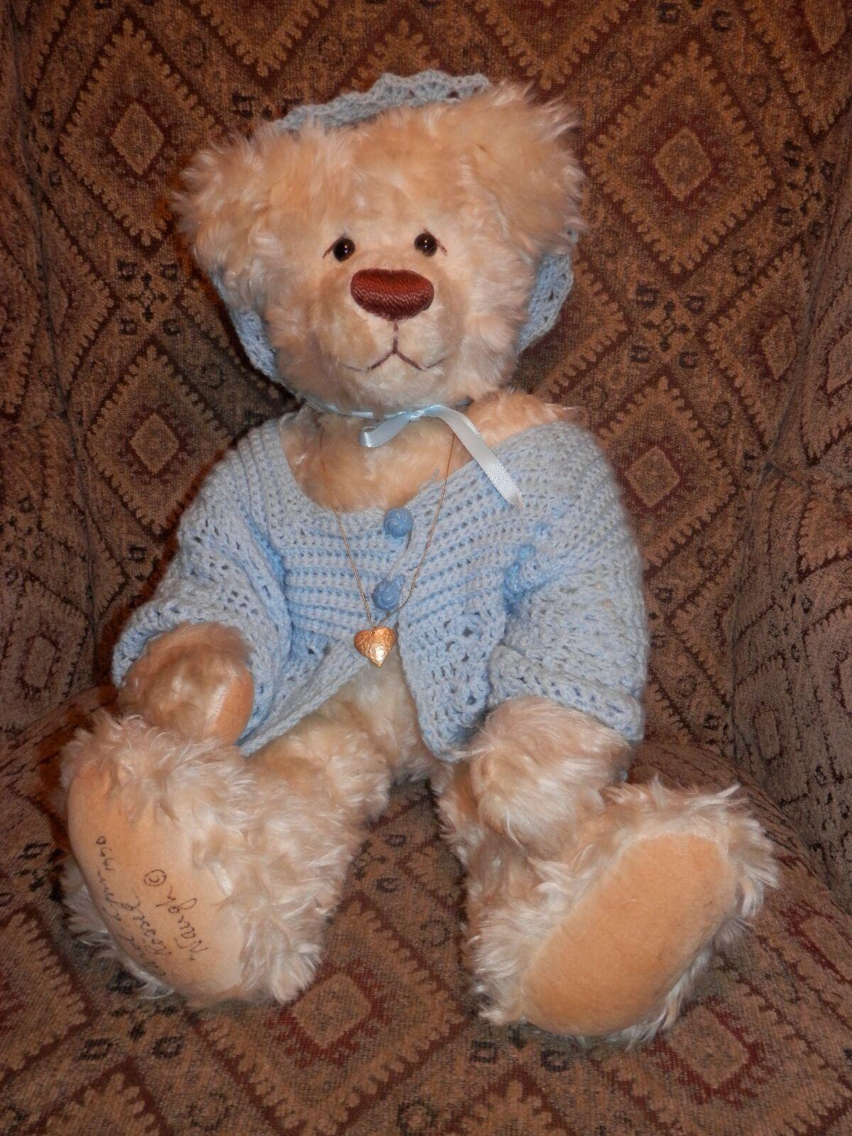 20  Carol-Lynn Rossel Waugh Blonde Bear with blu Sweater - 1990