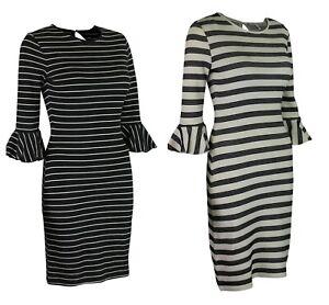 M-amp-S-Marks-amp-Spencer-Womens-Ivory-or-Black-Striped-Flute-Sleeve-Cotton-Midi-Dress