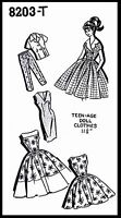 Barbie Teen Fashion Doll Fabric Sewing Pattern Dress Top Clothes Wardrobe 8203