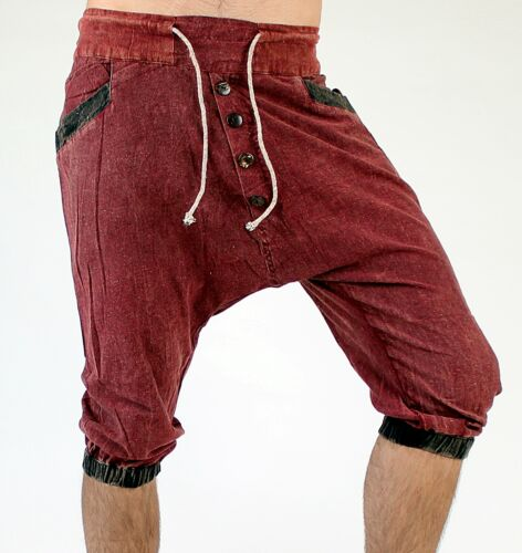 Breve pantaloni lunghi cavallo basso harem pantaloni taglia unica in 2 colori Pump Pantaloni Aladin interamente a mano