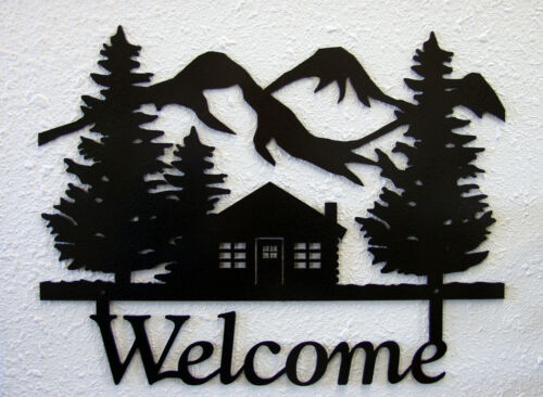 Cabin Welcome Sign Plaque Rustic Lodge Metal Art Mountain Hunting Cabin Decor
