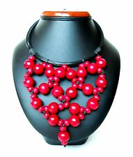 Necklace Beautiful Ethnic Decorative Beads Wood Red Handmade Indonesia NEW