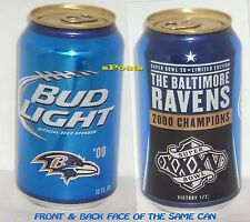 2000 BALTIMORE RAVENS SUPER BOWL 35 BUD LIGHT BEER CAN NFL MARYLAND FOOTBALL MD