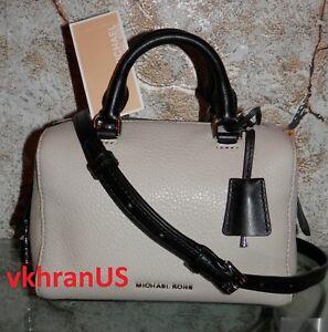 45c34926a691 NWT MICHAEL KORS XSmall Kirby Cement Black Leather Mini Satchel XS ...