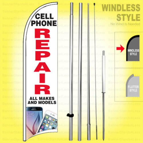 CELL PHONE REPAIR ALL MAKES MODELS Windless Swooper Flag 15/' Kit Sign wb-h