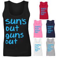 Womens Suns Out Guns Out 22 Jump Street Slogan Vest Tank Top NEW UK 8-18