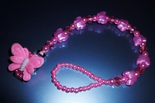 Pink Pretty Pearl Butterfly Romany Crystal Bling Baby dummy pacifier clip chain