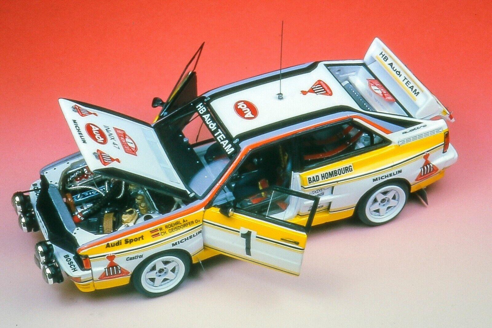 autorización oficial kit Audi Quattro Quattro Quattro Gruppo B  1 Rally MonteCochelo 1984 - Arena Models kit 1 43  moda clasica