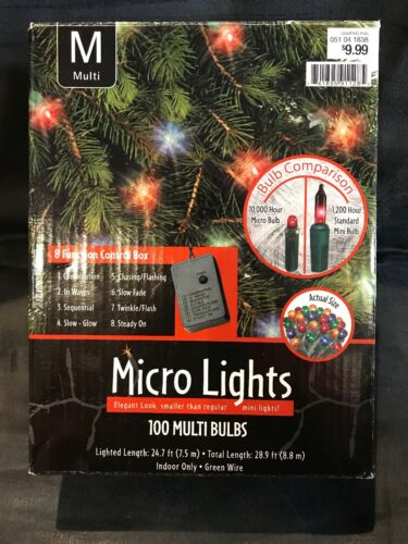 Christmas Indoor 100-LED Multicolor Micro Bulbs String Lights 8 Features 28.9 ft