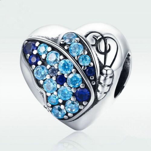 Nouveau À faire soi-même Coeur Argent CZ European Charm Beads Fit 925 Collier Pendentif Bracelet
