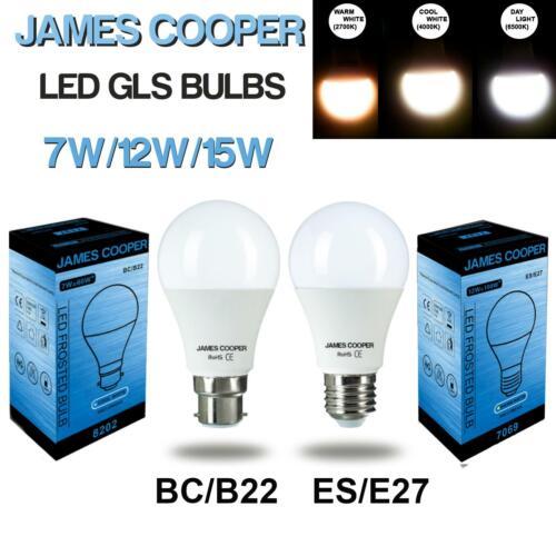 JAMES COOPER LED GLS Light Bulbs 7W=60W 12W=100W 15W=125W WATT BC B22 ES E27