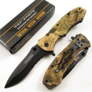 SPRING-ASSIST-FOLDING-POCKET-KNIFE-Tac-Force-Hunter-Camo-Black-Serrated-Blade